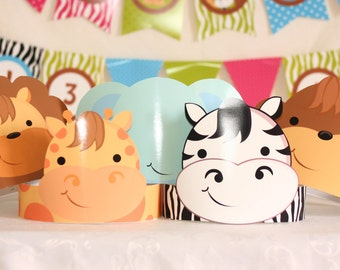 Jungle Safari Party Hats - Printable Party Hats - Lion Giraffe Elephant Monkey Zebra Party Hats - Instant Download - Birthday Party Hats