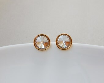 Swarovski clear crystal and gold stud earrings Rivoli crystal gold plated sterling silver post earrings