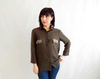 Long sleeved top, military wool shirt, military shirt, studded shirt, green blouse, womens clothing