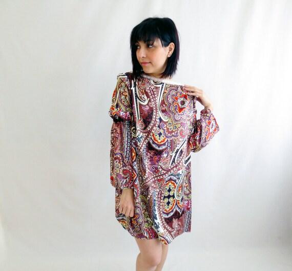 70s Bohemian tunic dress, boho dress, womens tunic, paisley dress, satin dress, long sleeve dress,