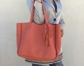 SUPER SALE/Free shipping/Leather bag/Peach pink leather bag/Black leather bag/Soulder bag/Shopping bag/Lara Klass bag