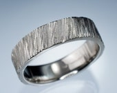 Saw Cut White Gold Wide Wedding Band Ring - Textured 14kW Gold Wedding Ring, Mens Wedding Band, Womens Wedding Ring, unique handmade Ring