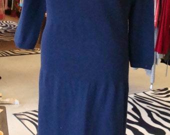 NAVY BLUE CASHMERE vintage 1960's sweater dress margaret morse M