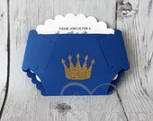 Little Prince Diaper Invitations in Royal Blue and Glitter Gold - Set of 10