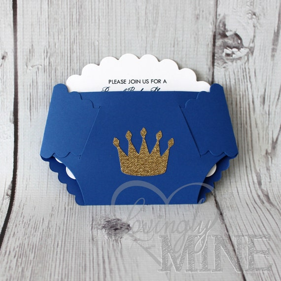 Little Prince Diaper Invitations In Royal Blue And By