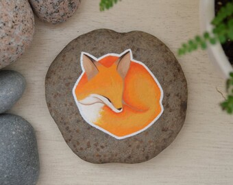 Hand Painted River Rock Fox