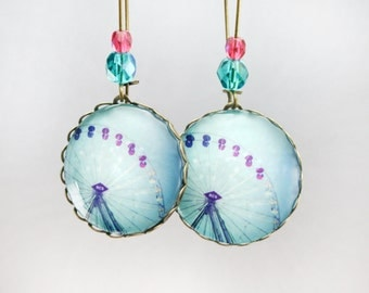 Ferris wheel earrings bokeh hearts Photograph Original Handmade