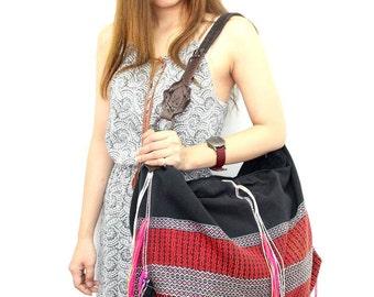 Shoulder Bag With Genuine Leather Strap Hill Tribe Vintage Hmong Cloth Thailand (BG1481.3)