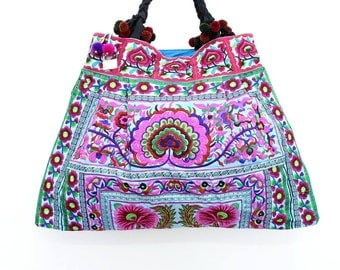 Huge Tote Bag Blue Flowers Hill Tribe Handmade HMONG Tribe Thailand (BG141-BF)