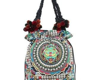 Tote Bag Pom Pom Strap Silver Hill Tribe Fabric Thailand  (BG134-SVCAT)