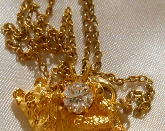 Lind 14kt GE Gold Electroplate Cat Pendant with Rhinestone