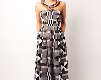 Black and White Kente African Print Strapless Maxi Dress Size Small or Medium