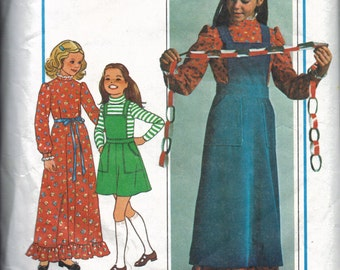 Girls Prairie Dress Pattern, Pioneer Dress Pattern, Pinafore or Jumper and Dress Pattern, Girls Size 8 and 10; Bust 27 to 28.5