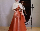 Gene Tyler Alex Madra Coral Satin Hollywood Style Evening Gown Circa 1950 Handmade