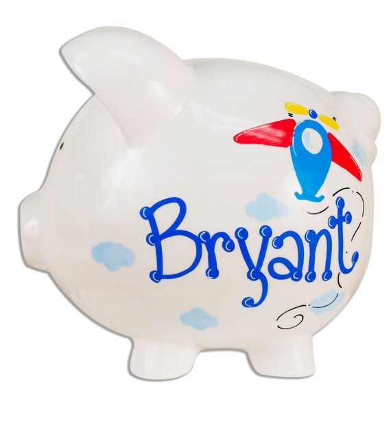 Hand painted personalized airplane piggy bank for by mybambino - Coin banks for boys ...