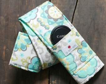 Camera Strap Cover- Mint Bloom