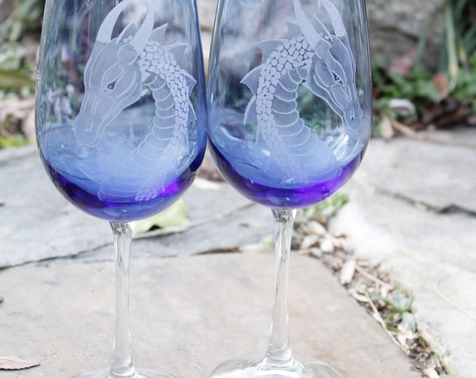 Decorated wine glasses  etched  engraved  dragon goblets set of two custom wine glasses hand engraved etched wineglass
