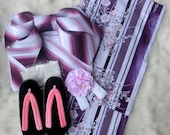 "NEW Japanese Summer Kimono Dress ""Purple Yukata"" - Purple Pink Flower Yukata complete set"