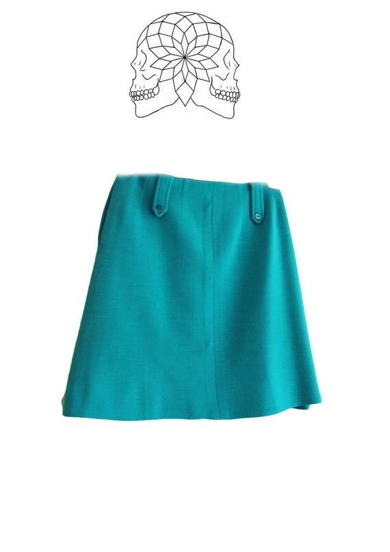 vintage sixties mini skirt bright blue turquoise skirt