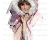 Harrison Fisher Edwardian Lady in Pink Coat Printable Vintage Illustration JPG Digital Download