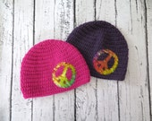 Peace Sign Crochet Knit Girl Hat with Shanna's Tie Dye Peace Sign Applique - Girl Hat sizes Baby to Teen