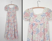 1970s TIERED Dress // Empire Waist Floral Gown // Boho Wedding XS Bluebells Tulips