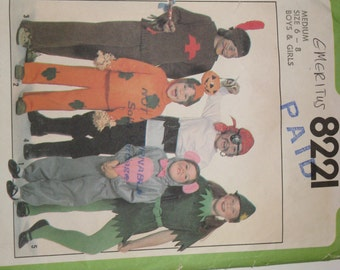Vintage Costume Pattern Elf, Pirate, Mouse Sewing Dated 1977  Simplicity Boys and Girls Size 6-8