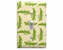 SALE Alligator Light Switch Plate Cover / Baby Boy Safari Nursery Decor / Peek-A-Zoo Alligators Green Timeless Treasures