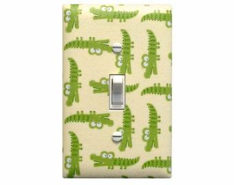 Alligator Light Switch Plate Cover / Baby Boy Safari Nursery Decor / Peek-A-Zoo Alligators Green Timeless Treasures