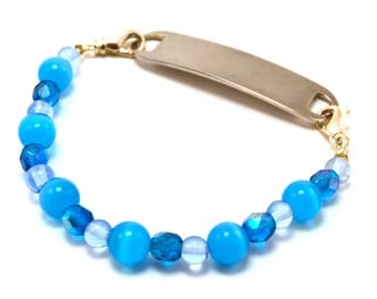 Blue and White Medical Bracelet Attachment