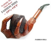 """Tobacco Smoking Pipe """"EAGLE CLAWS"""" Churchwarden for Pipe Smokers, Long Pear Wood Wooden Pipes, Handcrafted - Exclusive"""