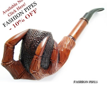 "Tobacco Smoking Pipe ""EAGLE CLAWS"" Churchwarden for Pipe Smokers, Long Pear Wood Wooden Pipes, Handcrafted - Exclusive"