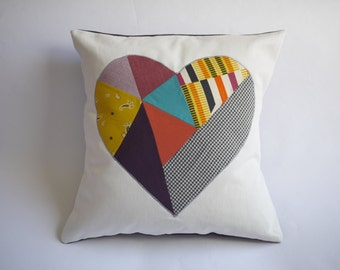 organic cotton / upcycled geometric heart patchwork pillow cover - colorful - 18""