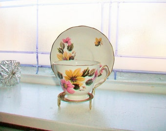 Vintage Royal Vale Tea Cup and Saucer Bone China Made in England Flower Decor