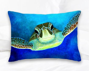 Sea Turtle Pillow | Turtle Art | Nautical Pillows | Turtle Pillow Cover | Turtle Decor | Beach Home | Nautical Decor | Ocean | Home Decor