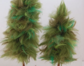 2 Decorative Evergreen Trees For Holiday Decor, Natural Looking Christmas Trees, Nature Scene Pine Tree Handmade of Wool