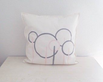 "Midcentury modern throw pillow. Geometric trees. Hand painted cotton pillow cover. White, rose and grey colored 20"" x 20"""