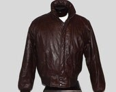 Vintage Leather Members Only Cafe Removable Sherpa Lining Racer Bomber Jacket Coat with Zip Out Lining Size 46 L/XL