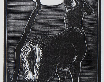 Woodblock Print:  Deer Moon