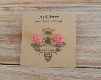 Small Neon Pink with Gold Glitter Minimalist Painted Wood Stud Earrings