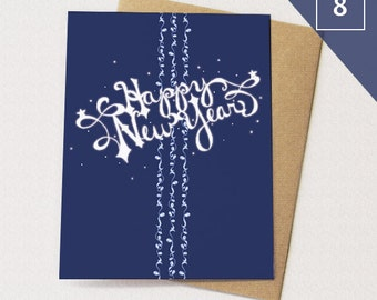 Happy New Year Cards BOX of 8 // Hand Lettered Cards