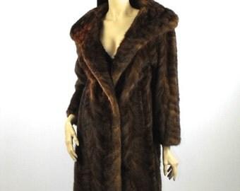 1950's Chevron Mink Stroller Coat // Natural mink Coat // Mink Swing Coat