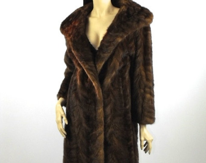1950's Chevron Mink Stroller Coat // Natural mink Coat // Mink Swing Coat
