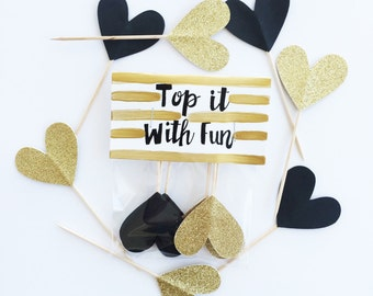 Party Toppers, 6 black and gold heart toppers, black gold party, black gold cupcake toppers, black gold decor, black gold hearts