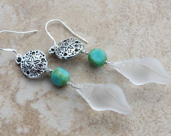 Bold Earrings Sterling Silver Dangle Aqua Sea Glass Sea shells, Turquoise, Sand Dollars, 3 inches,Tahitian Goddess