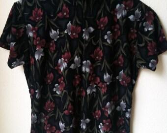 90s Floral Black Sheer Burnout Mock Rollneck Turtleneck Shirt Goth Punk Psych