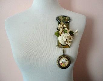Locket Brooch, Pocket Watch Brooch, Fabric Brooch, Romantic Steampunk, Picture Locket, Whimsical Jewelry, Vintage Flowers Brooch, Bohemian