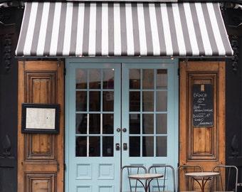 Paris Cafe Photograph Malabar Cafe Large Wall Art French Kitchen Decor Striped & Paris Cafe Photograph Cafe Door Cafe Sign on Glass Door Pezcame.Com