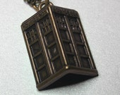 3D Tardis Doctor Who Police Box charm on a bronze necklace - Matt Smith - Peter Capaldi - David Tennant