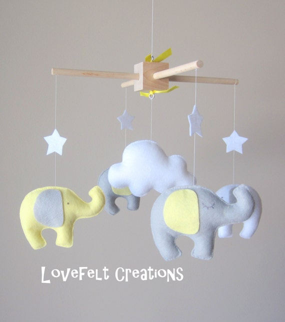 Baby crib mobile - Elephant Mobile - Baby Mobile  - Neutral Mobile - Yellow and Gray Baby Mobile - You can pick your colors :)
